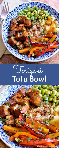 Teriyaki Tofu Bowl ... a delicious, easy recipe that's packed with veggies and lots of flavor! You are going to love this easy vegetarian bowl recipe. It starts with a quinoa base and features tasty tofu, yummy sauteed peppers, sweet pineapple, and protein packed edamame, and it's finished with a mouthwatering soy based homemade teriyaki sauce that's so simple to make!   Hello Little Home