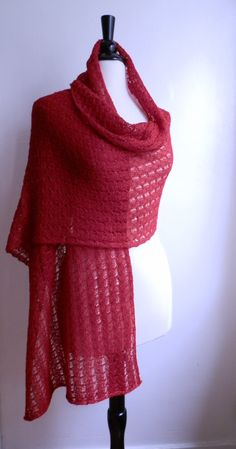 Knitted lace shawl / wrap / scarf in bright red by ThePaisleyBee, $68.00