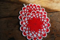 Crocheted Potholders Pair Vintage LARGE Fancy by theprimitivehome