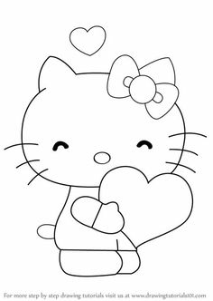 Learn How to Draw Hello Kitty with Heart (Hello Kitty) Step by Step : Drawing Tutorials Easy Coloring Pages, Animal Coloring Pages, Coloring For Kids, Coloring Books, Cute Easy Drawings, Art Drawings For Kids, Drawing For Kids, Girl Drawing Sketches, Baby Drawing