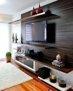 Home Theaters: 40 projetos de CasaPRO para você ter um cinema em casa – Herzlich willkommen Home Design, Interior Design, Design Ideas, Interior Paint, Design Living Room, Living Room Decor, Living Room Home Theater, Living Room Tv Unit Designs, Home Theaters