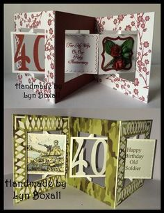 Accordian Card 40 th birthday Anniversary on Craftsuprint - Add To Basket!