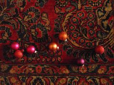 Arrangement in Red No.1: American Sarouk & ornaments at SG Grand Antiques, Winter 2011. This handsome rug is now in the office of a big-name designer in town.