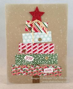 Sharon's Christmas tree card with video: Bright & Beautiful Gorgeous Grunge Nordic Noel dsp Red Glimmer Paper Stars framelits & more. Good tips on video. All supplies from Stampin' Up! Homemade Christmas Cards, Christmas Cards To Make, Christmas Tag, Xmas Cards, Homemade Cards, Handmade Christmas, Christmas Decorations, Outdoor Christmas, Christmas Christmas