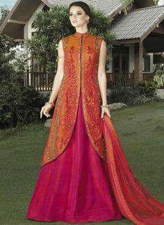 Orange Magenta Embroidery Work Silk Net Designer Anarkali Lehenga Wedding Suit http://www.angelnx.com/Salwar-Kameez/Anarkali-Suits