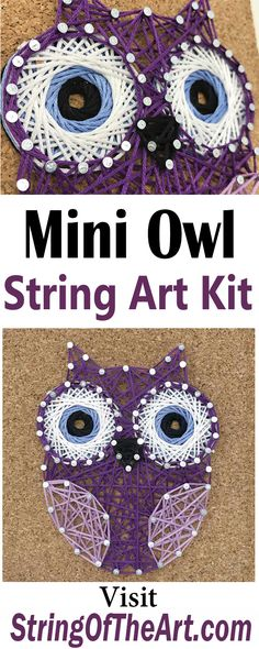 What is wiser than using your creative side to express yourself??? Creating by stringing up our new purple and blue eyed owl. Be smart, try this new and trending art form. String art is easy, fun and