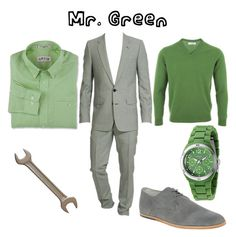 """""""Mr. Green"""" by worldofzack ❤ liked on Polyvore featuring Mr. Start, Dior Homme, Frank Wright, FOSSIL, halloween, clue and mr. green"""