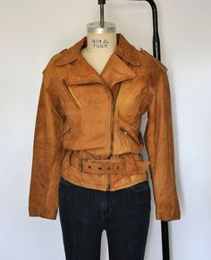 Vintage Whipp Country Tan Leather Motorcycle Jacket by AdelyandC, $125.00