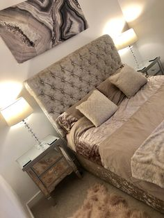 Crushed velvet sleigh bed with crystal side lamps and faux fur rug Grey Bedroom Decor, Warm Bedroom, Home Bedroom, Bedroom Ideas, Master Bedroom, Crushed Velvet Sleigh Bed, Crushed Velvet Headboard, Crystal Bedroom, Velvet Bedroom