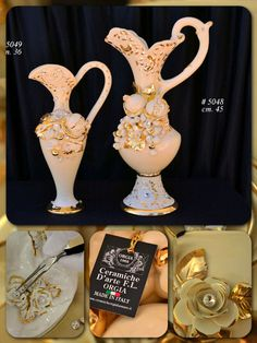 Elegant style line with sprigs of hand made roses. Decorated with Gold and have a Champagne base color.