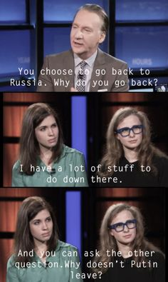 "Pussy Riot's Masha Alyokhina and Nadya Tolokonnikova interview on ""Real Time"" with Bill Maher."