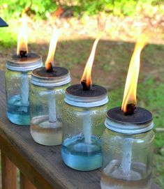 7. Torches  Torches – is a great way to decorate gazebo. What can be made out of glass jars: 15 ideas