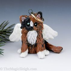 Angel Tortoiseshell Cat Persian Maine Coon Ornament Porcelain