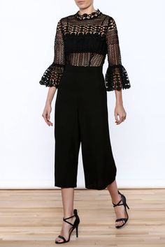 Black laced top romper. Arms twilled fabric with a black bandeau covering chest. Black wide pants cut boxy.   Geometric Lace Jumpsuit by Ark & Co.. Clothing - Jumpsuits & Rompers - Jumpsuits New Hampshire