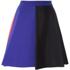 MSGM Tricoloured Swing Skirt ($352) ❤ liked on Polyvore featuring skirts, multicolour, msgm skirt, colorful skirts, blue skirt, royal blue skirt y multicolor skirt