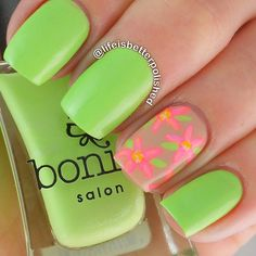 Green, flowers nails. Nail art. Nail design. Bonita Polish. Polishes. by @lifeisbetterpolished