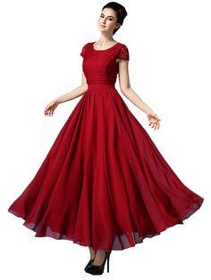 Solid Crochet Style Maxi Chiffon Dress & Dresses - at Jollychic