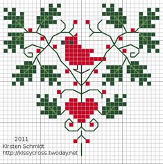 cardinal heart cross stitch freebie    (...cr...this is about 40x40 stitch count...looks sort of pretty)
