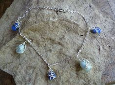 Shades of Blue milk glass / sea glass anklet by GoofyMoose on Etsy, $20.00