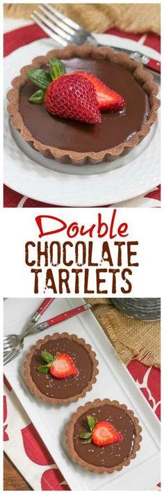 Double Chocolate Tartlets An elegant chocolate dessert cakes Mini Desserts, Just Desserts, Delicious Desserts, Yummy Food, Tart Recipes, Baking Recipes, Dessert Recipes, Chocolate Pastry, Chocolate Desserts