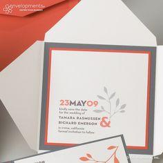 Contemporary Grey and Coral Leaf Custom Wedding Invitations.