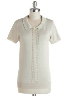 Corner Office Top by Myrtlewood - Sheer, Knit, Mid-length, Cream, Solid, Work, Short Sleeves, Spring, Better, Exclusives, Private Label, Col...