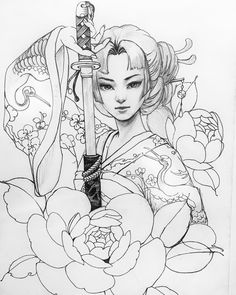 Image may contain: 1 person, drawing Japanese Drawings, Japanese Tattoo Art, Japanese Tattoo Designs, Japanese Art, Japanese Sleeve, Geisha Tattoo Design, Geisha Tattoos, Irezumi Tattoos, Geisha Drawing