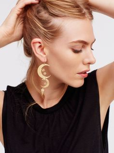 Mixed Moons Dangle Earring Set | Set of 2 American made celestial-inspired brass dangle earrings with one being a little longer and both featuring sparkly accents. Hook closure.