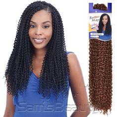 FreeTress Synthetic Hair Crochet Braids Kinky Bohemian Braid : Hair Color Shown : 1B - Samsbeauty.com - crotchet braids  the tiny braids at the front part