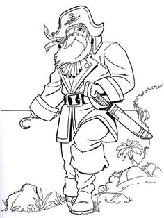 Click to see printable version of Old Pirate coloring page
