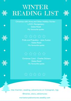 Free winter-themed reading list printable Christmas Carol Charles Dickens, Reading Adventure, Pride And Prejudice, Book Themes, Winter Theme, Book Recommendations, Reading Lists, Favorite Quotes, Blogging