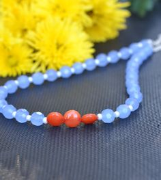 Blue and Orange Jade Necklace by GinaDavisDesigns on Etsy, $20.00