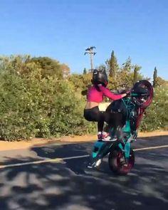 Wheelie Kat - Shared by Motorcycle Fairings - Motocc Motorbike Girl, Motorcycle Bike, Motorcycle Clothes, Trike Bicycle, Lady Biker, Biker Girl, Gif Motos, Moto Design, Moto Cross