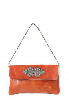 Pignarea bag - Berlino. Leather shoulder bag / clutch bag made of  orange leather and suede with jewelry on the front, removable chain, magnetic closure, fully lined in emerald green, a little opened pocket iside. Pignarea Fall Winter Collection 2013-2014.