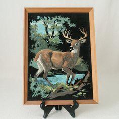 VELVET. YES.  Vintage Buck Deer Black Velvet Painting PBN