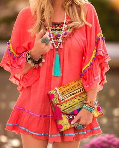 Stunning Boho Chic Style Outfit To Inspire Yourself - Ethno Style, Bohemian Style, Funky Style, Ibiza Style, Modern Bohemian, Look Boho, Look Chic, Short Beach Dresses, Cute Dresses