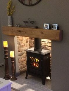 Best No Cost Brick Fireplace log burner Concepts Often it gives to be able to by pass the actual renovate! As opposed to extracting a obsolete brick fireplace , save mon Oak Beam Fireplace, Cosy Fireplace, Log Burner Fireplace, Wooden Fireplace, Country Fireplace, Rustic Fireplaces, Wood Burner, Living Room With Fireplace, Fireplace Design