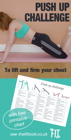 Push up challenge for women. 3 push up modifications to build chest and arm strength each day. 3 modified chest exercises for women - wall push up, incline push up and knee push up. See the post for free fitness printable and instructions Workout Calendar, Workout Schedule, Workout Guide, Free Workout, Workout Ideas, Push Up Challenge, 30 Day Workout Challenge, Chest Exercises, Chest Workouts