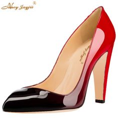 00ed0f22075 Red Black Gradient Patent Leather Womens Sexy Pointed Toe High Thick Heels  Pumps Slip-On
