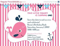 50% OFF Holiday Sale Printable Inviation Pink Little squirt Whale Birthday Girls invitation DIY You print Digital Invite. $9.99, via Etsy.