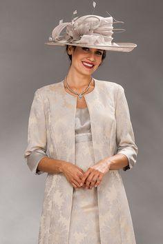 Short knee length shift dress with matchingbrocade coat  Product Code: Nougat