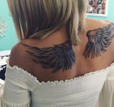 Angel wings Tattoo I think this is the size I'm looking for Forearm Wing Tattoo, Angle Wing Tattoos, Wing Tattoo On Shoulder, Wing Tattoo Men, Wing Tattoos On Back, Wing Tattoo Designs, Girl Back Tattoos, Back Tattoo Women, Tattoos For Women