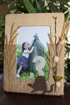 Wood and Burlap Dinosaur Picture Frame by DetailsandAccents, $15.00