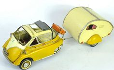 Miniature Retro Style 1957 BMW Yellow Isetta 300 w/Camping Trailer Car Model Hand Made Metal Toy Car Home Decor Office Decor Gift