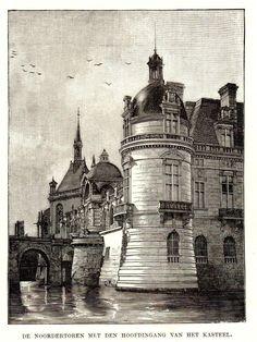 Antique print Chantilly castle north tower entrance 1887 Château de gravure