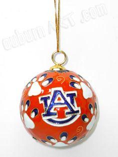 Auburn University Tiger Logo and Tiger Paw Christmas Ornament - AuburnArt.com Exclusive!