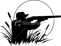 duck hunting silhouette Royalty Free Stock Vector Art Illustration