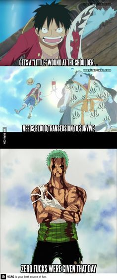 I believe that zoro did have a blood transplant it just wasn't included because it's a normal thing amongst humans BUT it WAS included in the fishman island BECAUSE it was a HUGE STEP to have fishman tranfer blood to human! That's it for you. but the meme is fun :3