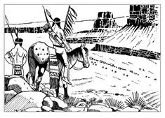 Free coloring page coloring-adult-indians-keeping-watch. Indians keeping watch