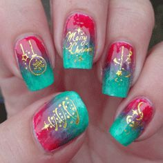Classic Christmas (Gold) Nail Water Decals | Nail Art Supplies | Sparkly Nails…